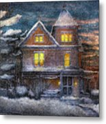 Winter - Clinton Nj - A Victorian Christmas  Metal Print by Mike Savad