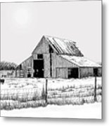 Winter Barn Metal Print by Lyle Brown