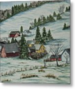 Winter In East Chatham Vermont Metal Print by Charlotte Blanchard