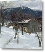 Winter Landscape Near Kutterling Metal Print by Johann Sperl