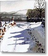 Winter Lane Sowood Metal Print by Paul Dene Marlor