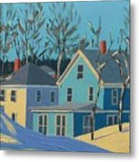 Winter Linden Street Metal Print by Laurie Breton