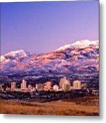 Winter Skyline Of Reno Nevada Metal Print by Vance Fox