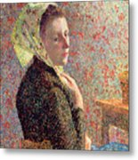 Woman Wearing A Green Headscarf Metal Print by Camille Pissarro