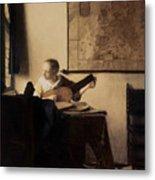 Woman With A Lute Metal Print by Jan Vermeer