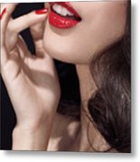 Woman With Red Lipstick Closeup Of Sensual Mouth Metal Print by Oleksiy Maksymenko