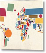 World Map Abstract Metal Print by Michael Tompsett
