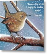 Wren In Snow With Bible Verse Metal Print by Joyce Geleynse