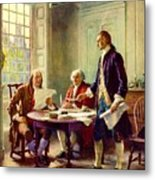 Writing Declaration Of Independence Metal Print by Pg Reproductions