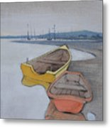 Yellow Boat 1 Metal Print by Amy Bernays