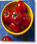 Yellow Bowl Of Tomatoes  Metal Print by Garry Gay