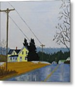 Yellow House In March Metal Print by Laurie Breton