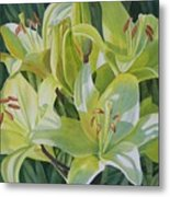 Yellow Lilies With Buds Metal Print by Sharon Freeman