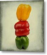 Yellow Red And Green Bell Pepper Metal Print by Bernard Jaubert