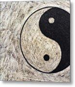 Yin And Yang Symbol On Drum Metal Print by Sami Sarkis
