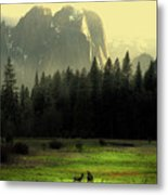 Yosemite Village Golden Metal Print by Wingsdomain Art and Photography