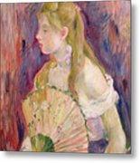 Young Girl With A Fan Metal Print by Berthe Morisot