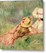 Young Girls On The River Bank Metal Print by Pierre Auguste Renoir