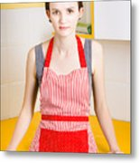 Young House Wife On Yellow Kitchen Background Metal Print by Jorgo Photography - Wall Art Gallery