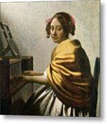 Young Woman At A Virginal Metal Print by Jan Vermeer