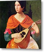 Young Woman With A Mandolin Metal Print by Vekoslav Karas