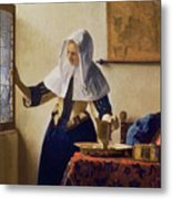 Young Woman With A Water Jug Metal Print by Jan Vermeer