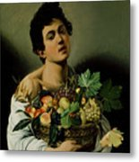 Youth With A Basket Of Fruit Metal Print by Michelangelo Merisi da Caravaggio