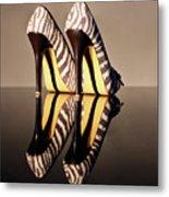 Zebra Print Stiletto Metal Print by Terri Waters