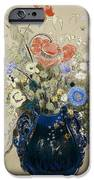 A Vase of Blue Flowers iPhone Case by Odilon Redon