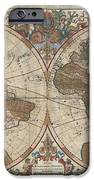 1691 Sanson Map of the World on Hemisphere Projection iPhone Case by Paul Fearn