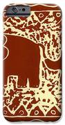 Elephant and calf lino print brown iPhone Case by Julie Nicholls