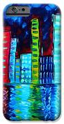 Abstract Art Landscape City Cityscape Textured Painting CITY NIGHTS II by MADART iPhone Case by Megan Duncanson