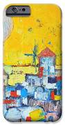 ABSTRACT SANTORINI - OIA BEFORE SUNSET iPhone Case by ANA MARIA EDULESCU