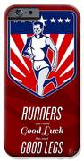 American Marathon Runner Good Legs Poster iPhone Case by Aloysius Patrimonio