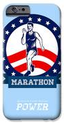 American Marathon Runner Power Poster iPhone Case by Aloysius Patrimonio