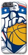 Basketball Player Holding Ball Crest Retro iPhone Case by Aloysius Patrimonio