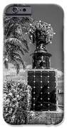 Blue Crown statue Miami downtown - Black and White iPhone Case by Ian Monk