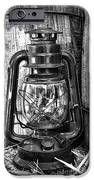 Cowboy themed Wood Barrels and Lantern in black and white iPhone Case by Paul Ward