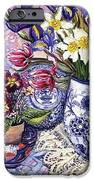 Daffodils Tulips and Iris in a Jacobean Blue and White Jug with Sanderson Fabric and Primroses iPhone Case by Joan Thewsey