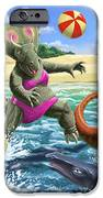 dinosaur fun playing Volleyball on a beach vacation iPhone Case by Martin Davey