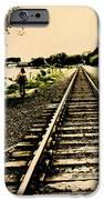 Dog Walk along the Wayzata Train Tracks iPhone Case by Susan Stone