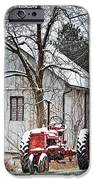 Farmall Tractor in Winter iPhone Case by Timothy Flanigan
