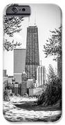 Hancock Building Through Trees Black and White Photo iPhone Case by Paul Velgos
