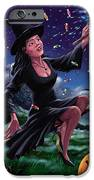 Happy Halloween Witch with graveyard friends iPhone Case by Martin Davey
