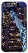 Lady Liberty by night iPhone Case by Delphimages Photo Creations