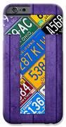 Letter T Alphabet Vintage License Plate Art iPhone Case by Design Turnpike