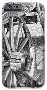 Montana Old Wagon Wheels Monochrome iPhone Case by Jennie Marie Schell