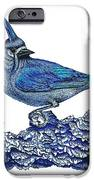 Pen and ink drawing of small Blue Bird  iPhone Case by Mario  Perez