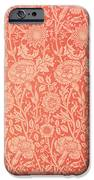 Pink and Rose Wallpaper design iPhone Case by William Morris
