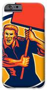 Protester Activist Union Worker Placard Sign Retro iPhone Case by Aloysius Patrimonio